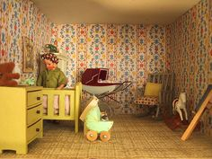 Vintage Triang dolls house Nursery.