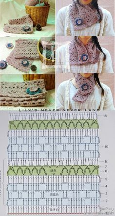 Crochet scarf  ♥LCP♥ with diagram