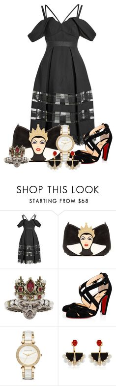 """Untitled #95"" by darkrosestyle ❤ liked on Polyvore featuring self-portrait, Danielle Nicole, Alexander McQueen, Christian Louboutin, Michael Kors and Lalique"