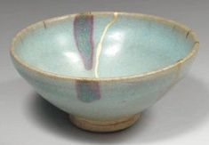 """Chawan 茶碗 Époque Ming (1368-1644). Bol à thé """"chawan"""". Junyao. (A great bowl. You can eat rice and drink tea from it!)"""