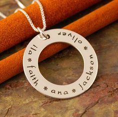 Personalized Jewerly - Hand Stamped Sterling Silver Mommy Necklace - Solo Family Circle of Love Washer