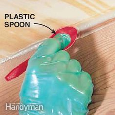 How to Repair a Squeaky Floor - Fill with caulk, Smooth the bead, Push the bead of polyurethane construction adhesive deeper into the flooring gap with a plastic spoon instead of your finger. This adhesive is extremely sticky. Wear gloves when handling it and expect that any tools you use to work the adhesive will have to be cleaned with paint thinner, or in the case of the spoon, just throw away.
