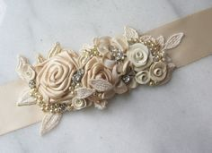 Champagne Bridal Sash Golden Beige Bridal Sash by TheRedMagnolia