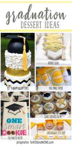 Graduation Dessert Ideas and graduation party inspiration via @forkidsandmoms   graduation cakes, graduation cupcakes, graduation cookies