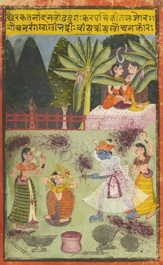 AN ILLUSTRATION DEPICTING KRISHNA WITH RED DYE DURING THE HOLI FESTIVAL | lot | Sotheby's