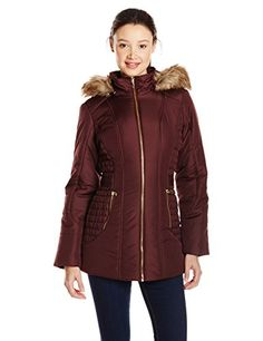 Celebrity Pink Juniors' Puffer Jacket with Faux-Fur Hood *** You can find out more details at the link of the image.