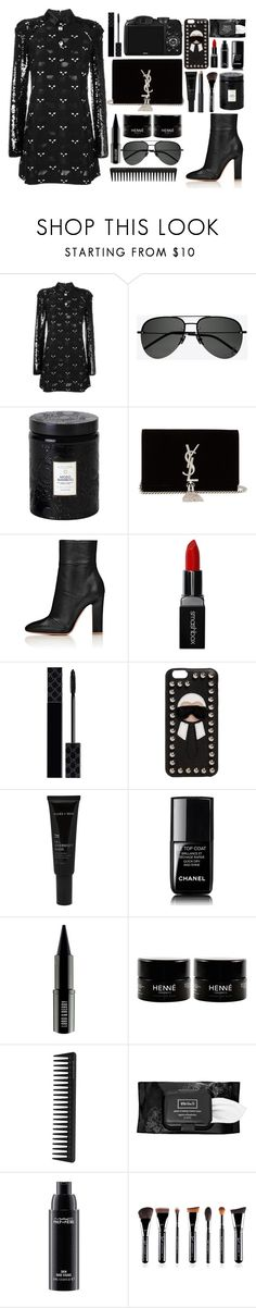 """""""Dua Lipa - New Rules"""" by tamaramanhardt ❤ liked on Polyvore featuring Giamba, Yves Saint Laurent, Voluspa, CO, Smashbox, Gucci, Fendi, Allies of Skin, Chanel and Lord & Berry"""