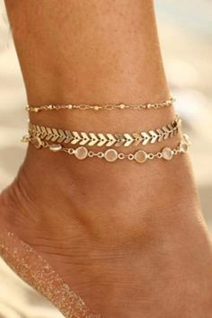 """Get ready for summer weather with this cute anklet set! You get three different anklets already matched so you can wear them all or mix and match just a couple.   The top anklet features gold beads on a delicate chain. The second anklet is a super trendy chevron chain. The third anklet features clear crystal beads for extra sparkle! DETAILS & SIZE  Composition: gold or silver plated zinc alloy, clear faceted glass beads Measurements: chain: 7.5"""" + 2"""" extension Silver Ankle Bracelet, Foot Bracelet, Ankle Jewelry, Gold Anklet, Anklet Bracelet, Cute Anklets, Beach Anklets, Leg Chain, Ankle Chain"""