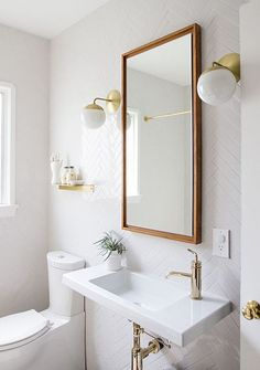 A powder room is just a rather more fancy way of referring to a bathroom or toilet room. Just like in the case of a regular bathroom, the powder room may present different challenges related to its interior design and… Continue Reading → Bathroom Renos, Bathroom Renovations, Bathroom Interior, Bathroom Storage, Bathroom Ideas, Gold Bathroom, Bathroom Makeovers, Bathroom Inspo, Design Bathroom