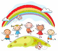 Illustration about Happy kids jumping with joy on a hill underneath a rainbow. Illustration of multinational, childs, drawing - 44631827 Drawing For Kids, Art For Kids, Kindergarten, School Murals, Cartoon Sketches, Free Vector Art, Raising Kids, Happy Kids, Pre School