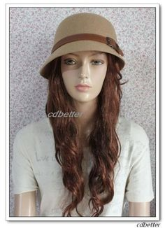 Women Lady Leather Buckle Vintage Warm Wool Blend Fashion Fedora Bucket Hat Cap | eBay