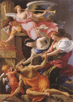 Simon Vouet - Saturn, Conquered by Amor, Venus and Hope -