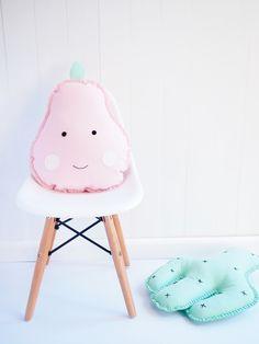 boo & bear - pear cushion - wool felt pear cushion, girls room decor, pink pear cushion, baby nursery, pirum parum...