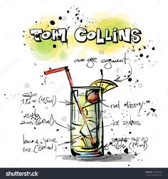 Hand Drawn Illustration Of Cocktail. Tom Collins. Vector Collection. - 155658701 : Shutterstock