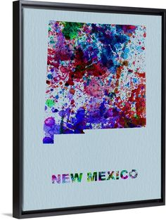 """An outline of the state of New Mexico filled in with various watercolor paints - """"New Mexico Color Splatter Map"""" wall art by Naxart Studio from Great BIG Canvas Map Wall Art, Map Art, Framed Artwork, Wall Art Prints, Framed Prints, Canvas Prints, Word Cloud Art, Word Clouds, Outline Art"""