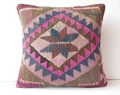 "20"" Turkish pillow case hand woven decorative pillow large throw pillow chevron kilim pillow cover ethnic cushion cover brown pink pattern"