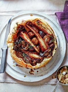 Parsnip & chestnut tarte parsnips 3 shallots Bramley apple 20 g goose fat 50 g unsalted butter 100 g ready-to-cook chestnuts 7 sprigs of thyme 320 g ready-rolled puff pastry 1 tablespoon balsamic vinegar SHALLOT COMPOTE 200 g shallots 50 g medj Tart Recipes, Vegetable Recipes, Cooking Recipes, Vegetable Tart, Sausage Recipes, Vegetable Dishes, Vegetarian Nut Roast, Vegetarian Recipes, Anna Jones Recipes