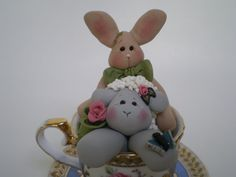 Easter Bunny and Lamb in a Tea Cup by Helen's by HelensClayArt, $15.95