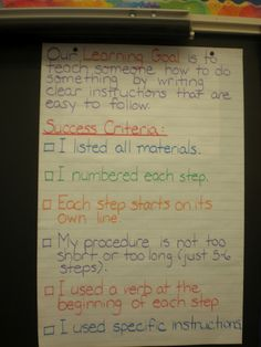Procedure Writing-success criteria/ anchor chart.  Pinterest I LOVE you!