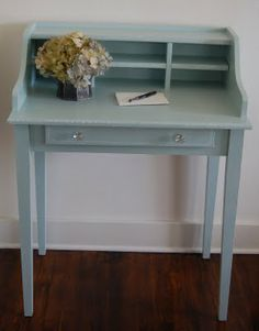 More Mustard Seed Creations - Miss Mustard Seed This cubby hole desk was a $15 Craig's List find. It was painted a beige and white and had stickers on it. After a good cleaning and sanding, I painted it a blue/green with simple white details following the lines of the desk. This piece sold in less than a month.