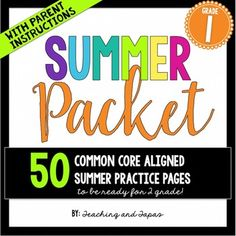 Summer packet - perfect for the end of 1st grade and getting ready for 2nd grade.Avoid the summer slide! This product contains 50 days worth of review/practice pages for your students to work on after they leave your first grade classroom.  Every activity is aligned to the Common Core standards with more practice on the skills that are essential for success in 2nd grade.
