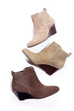 Ultra wearable suede wedge bootie with pull tabs, almond toe and elastic gore detail. Cute Shoes, Me Too Shoes, Suede Boots, Ankle Boots, Crazy Shoes, Beautiful Shoes, Fashion Shoes, Autumn Fashion, Purses