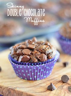 These Skinny Double Chocolate Muffins are chock full of flavor, but with a few easy substitutes, you don't have to feel guilty eating them!