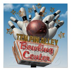 Ten Pin Alley Bowling Retro Neon