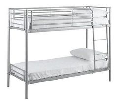 """Mika Shorty Bunk Bed Frame - Silver 2'6"""" 2ft6 Bed Children's Twin Metal Bunkbed"""