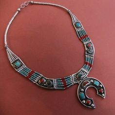 """Tibetan, Mosaic & Silver Necklace, Another rather nice contemporary """"Tibetan"""" Mutli Strand Necklace with chased silver units inlaid with mosaics and panels of Turquoise and Red Coral chips."""