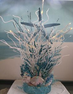 White and Blue Coral Beach Wedding Centerpiece ~Seashell Beach Centerpiece~Lights Up~Starfish~Bubbles~Driftwood Wedding Decor