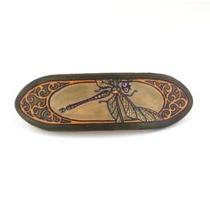 Hand painted leather French type barrette HPFR16  Size: 4 inches across