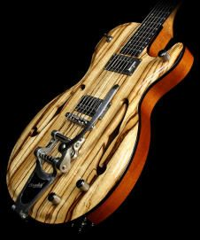 2013 Demers Voodoo Hollowbody Spalted Maple Electric Guitar Natural