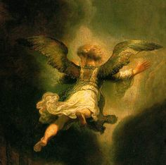 Detail of Angel Raphael Leaving Tobit and His Family Giclee Print by Rembrandt van Rijn Hieronymus Bosch, Art Occidental, I Believe In Angels, Dutch Golden Age, Angels Among Us, Mystique, Dutch Painters, In China, Dutch Artists