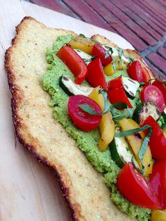 Broccoli Pesto Flatbread w/ Cauliflower Crust! Gluten Free, Vegan, SPecific Carb Diet, SCD Friendly, Paleo, Body Ecology Diet! glutenfreehappytummy http://glutenfreehappytummy.blogspot.com/2013/08/broccoli-pesto-flatbread-w-cauliflower.html
