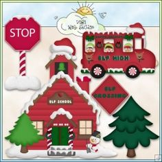 Christmas Village: Santa's Elves School & Bus - NE KWD Clip Art