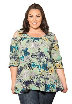 0546ce35a7261 Fashion Bug Womens Plus Size Scoop Neck Short Sleeve Geena Cold Shoulder  Top - 3X green