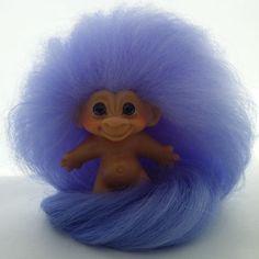 Vintage 1960s Dam Troll Doll Lavender Mohair Purple Sparkle Glass Eyes PETITE #Dam #Dolls