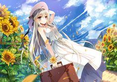 clouds flowers hat jiji_(381134808) kasugano_sora long_hair summer_dress sunflower wristwear yosuga_no_sora