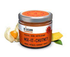 BySusann - Mix-It-Chutney     Fruchtig / Herb / Mittelscharf   Mango, Physalis, Kumquat, Tomate  Verpackungsdesign, Produktdesign,