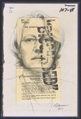 Natalie Schorr self portrait in graphite on a discarded library book.