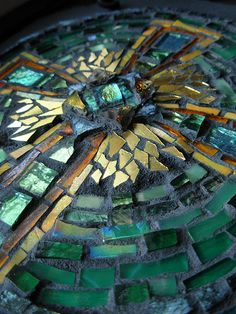 Celtic Cross in Green and Amber