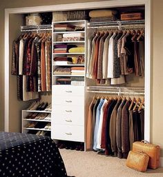 small closet - organized ( build where small desk is in bedroom for extra space
