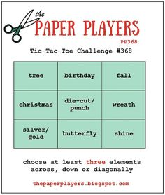 Hi friends! It's Sunday and that means time for a new challenge at The Paper Players! This week the amazing Jaydee is our hostess with...