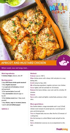 Save time and money with this one-pan apricot and mustard chicken dish. Head to a participating for frozen chicken on special. Meat Recipes, Chicken Recipes, Cooking Recipes, Healthy Recipes, Eat On A Budget, Budget Meals, Cut Recipe, Mustard Chicken, South African Recipes