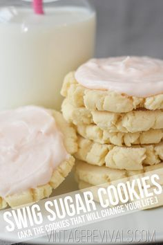 "Gotta try this sugar cookie recipe to see if it lives up to the hype! One pinner wrote, ""The ORIGINAL Swig Sugar Cookie Recipe! This is literally the Best Sugar Cookie Recipe EVER! Swig Sugar Cookies, Yummy Cookies, Cookies Et Biscuits, Baking Cookies, Sugar Cookies With Frosting, Cookies Best, Sour Cream Sugar Cookies, Pink Cookies, Sugar Cookie Bars"