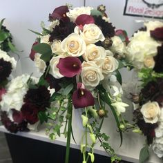 Burgundy Dahlia & calalilly and Ivory roses cascading bridal bouquet.
