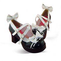 Handmade PU Leather 7.5cm High Heel Shiro& #Lolita Shoes