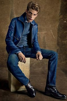 Amazing look for 2015 from Tom Ford ... blue leather jacket with jeans and fine sweat in the same simple color palette. Power fashion statement or what? http://www.tomford.com/s-s-mens-2015/