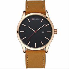 Sale 28% (12.99$) - CURREN 8214 Fashion Leather Strap Men Quartz Watch Casual Date Display Sport  Watch